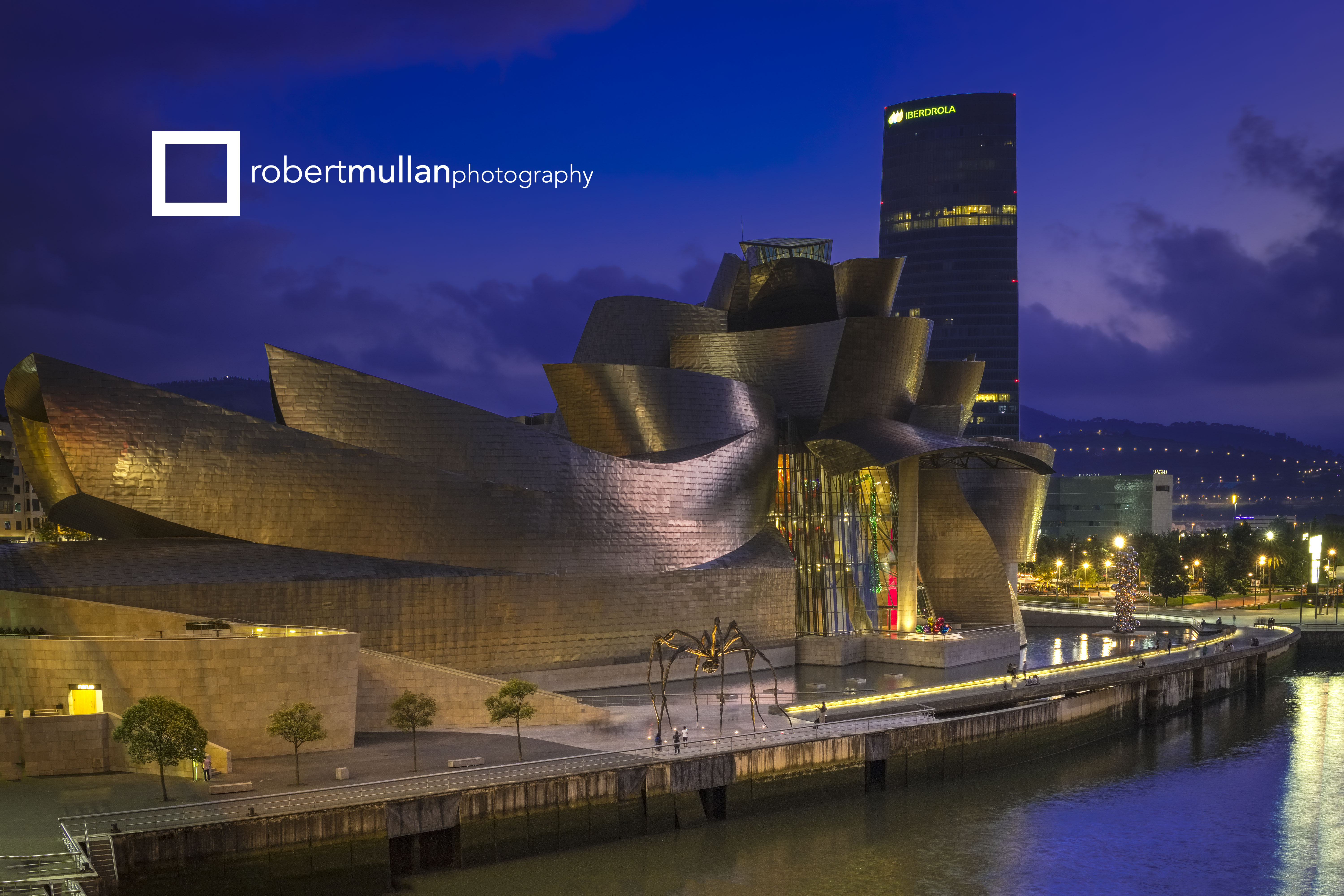 The Guggenheim Museum, Bilbao, photographed at dusk